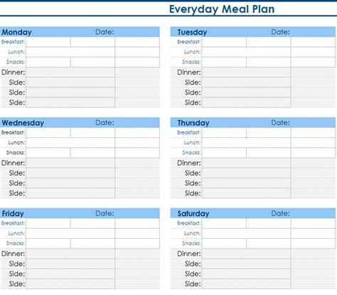 daily meal planner  excel templates