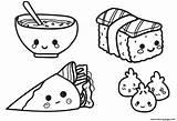 Coloring Sushi Kawaii Printable Chinese Popular sketch template
