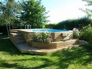 Piscine Avec Terrasse Bois : piscine bois hors sol avec terrasse ~ Nature-et-papiers.com Idées de Décoration