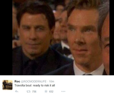 Travolta Meme - john travolta and benedict cumberbatch meme from 2015 oscars popsugar celebrity australia