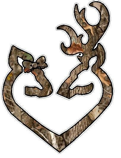 Camo Browning Deer Head Heart Logo