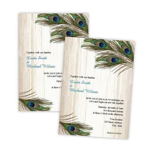 Wedding Invitation Peacock Feathers on Wood DIY Printable