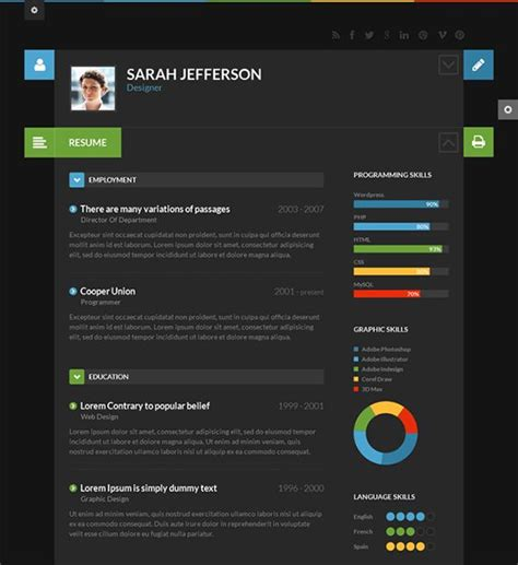 Best Color Palettes For Resume by This Flat Theme Is For Resumes And Cvs And It Has A Responsive Layout