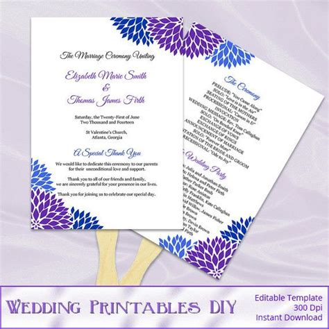 royal blue and purple wedding program fans by