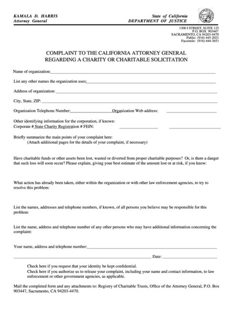 fillable complaint   california attorney general form