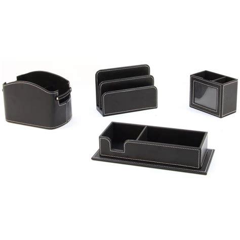 set bureau set de bureau 4 pièces en simili cuir