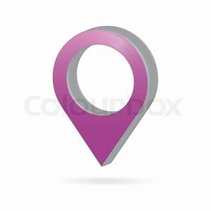 3d Metal Purple Map Pointer Icon