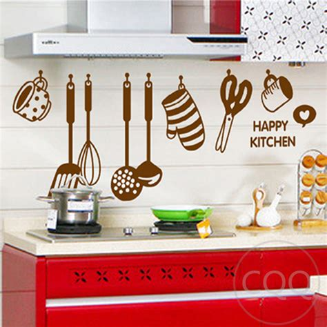 stickers cuisine design kitchen cookware wall sticker home decor diy adhesive