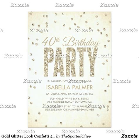 Gold Glitter Look Confetti 40th Birthday Party Invitation