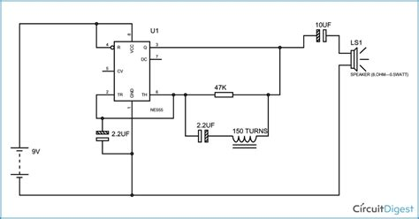Simple Metal Detector Circuit Diagram Using Timer