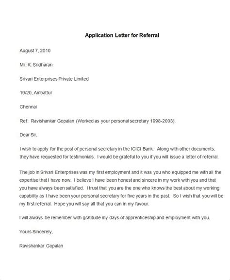 application letter template exle application letter letter of recommendation