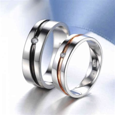 fashionable simple style 925 sterling silver with white gold plated cubic zirconia couple rings