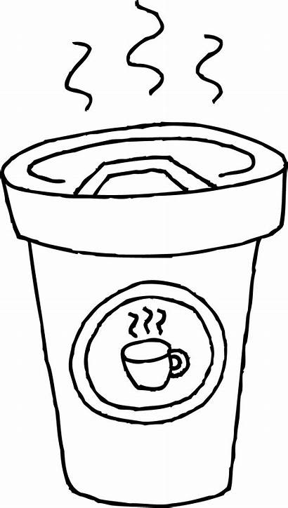 Coffee Coloring Cup Pages Clip Latte Clipart