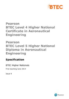 BTEC Higher Nationals Aeronautical Engineering (2010