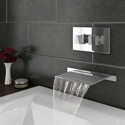 plaza wall mounted waterfall bath filler  concealed