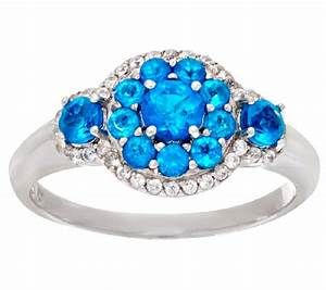 Neon Blue Apatite & White Zircon Sterling Ring 0 45 ct tw