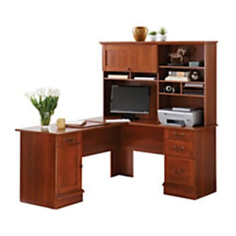 Officemax Corner Desk With Hutch by Sauder Traditional L Shaped Desk 29 14 H X 62 12 W X 58 D
