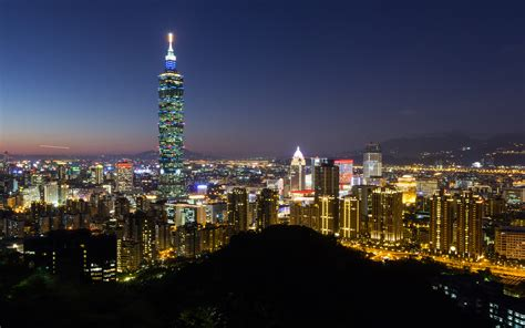 Taipei City Skyline Skyscrapers Buildings Night