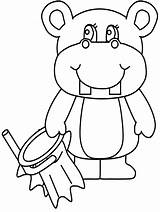 Coloring Pages Hippopotamus Hippo Cartoon Animal Cliparts Animals St Hat Patrick Printable Clipart Library Hippos Clip Ariel Place Getcoloringpages Patricks sketch template