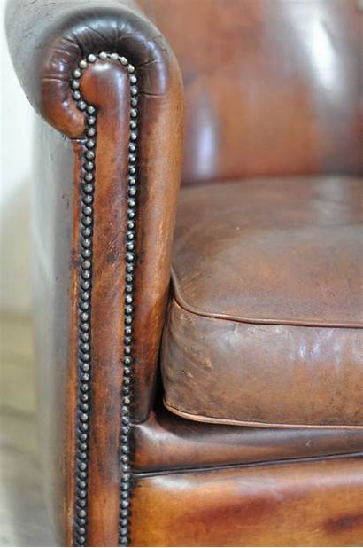 Leather Chair Club French Worn Arms Country