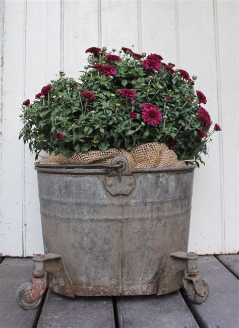 Vintage Zinc Bucket Wheels With Handle Old Rustic