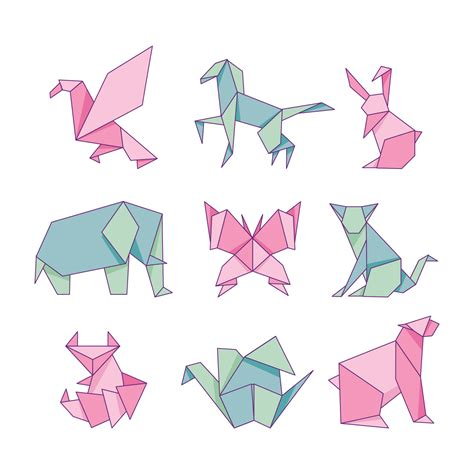 origami animals paper set isolated  white background