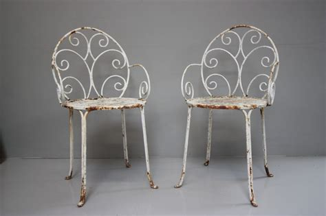 antiques atlas pair of antique iron garden chairs
