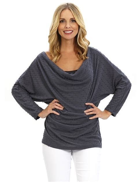 miraclebody drape neck top in gray medium grey lyst