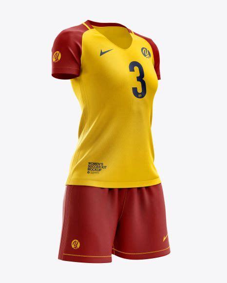 Cuffed soccer cleats mockup (half side view) by alex tsepelev in apparel mockups. Women's Soccer Kit mockup (Right Half Side View) | Sport ...