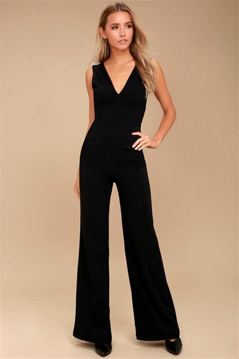 sexy black jumpsuit sleeveless wide leg jumpsuit