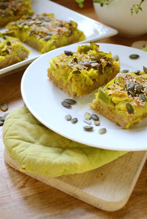tarte moelleuse poireaux flocons d avoine vegan green cuisine