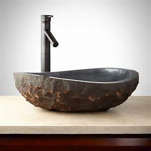 Asymmetrical, Granite, Vessel, Sink, With, Dark, Granite, Chiseled, Exterior