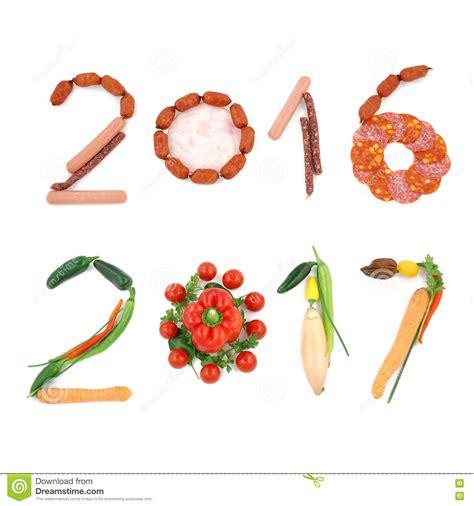 Numbers 2016 2017 Happy Vegan New Year Stock Image