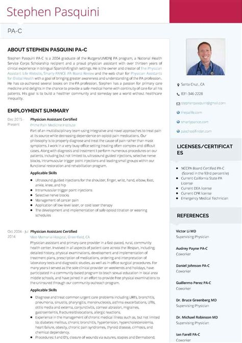 Visual Cv Resume by Use Visualcv To Create A Stunning Physician Assistant Resume The Physician Assistant