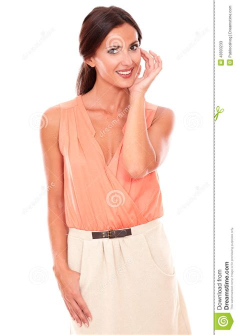 looking blouse fashionable in blouse smiling stock photo
