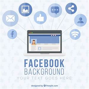 Computer background with facebook icons in flat design ...