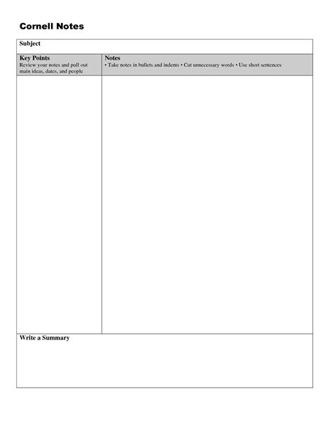 cornel notes template word cornell notes template doc cornell notes template doc