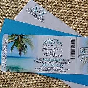 fee boarding pass invitation or save the date tropical With destination wedding invitations and save the dates
