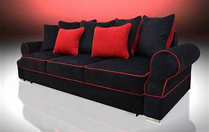 Sofa bed 3 seater royal black red velvet fabric for Red and black sofa bed