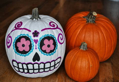 paint for pumpkins artelexia day of the dead diy 18 sugar skull pumpkins