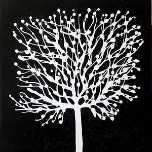 Peinture En Noir Et Blanc : nature et flore arbre blanc fond noir tableau de peintures et peinture de tableaux abstraits ~ Melissatoandfro.com Idées de Décoration