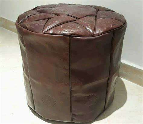 Hassock Ottoman Footstool by 16 Inch High Handmade Moroccan Pouf Genuine Leather Pouffe