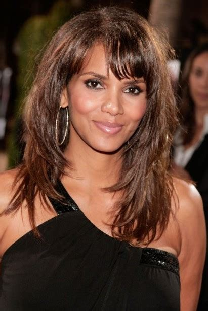 halle berry layered long hairstyle  bangs hairstyles