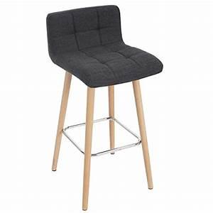 Tabouret De Bar Tissu : 2x tabouret de bar malm t430 chaise bar comptoir design r tro en bois gris fonc tissu ~ Teatrodelosmanantiales.com Idées de Décoration
