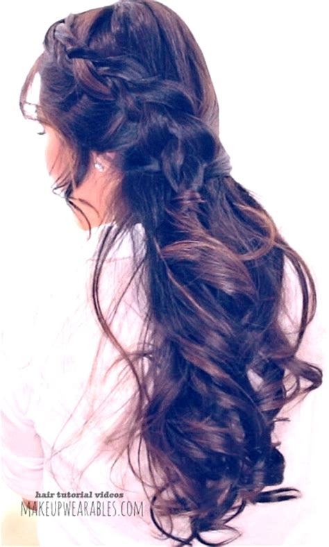 romantic half up half down hairstyle for school prom wedding