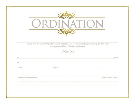 ordination certificate template deacon ordination certificate ordination christian supply