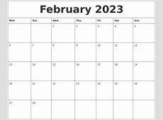 February 2023 Calendar Pages