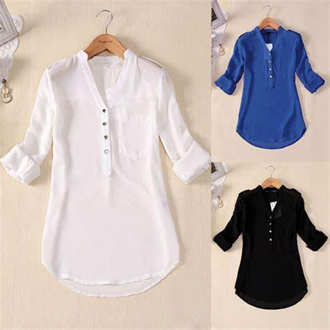blouse vs shirt us s 5xl v neck chiffon top sleeve