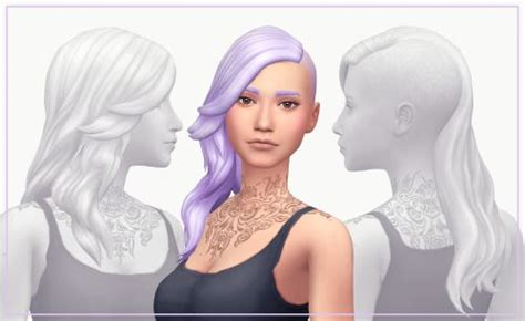 Budgie2budgie, flour, sims 4june 22, 2016. Harlyn Hair by WMS via tumblr   Female - Hair - Long - Wavy - Shaved   BGC   Sims 4   TS4 ...