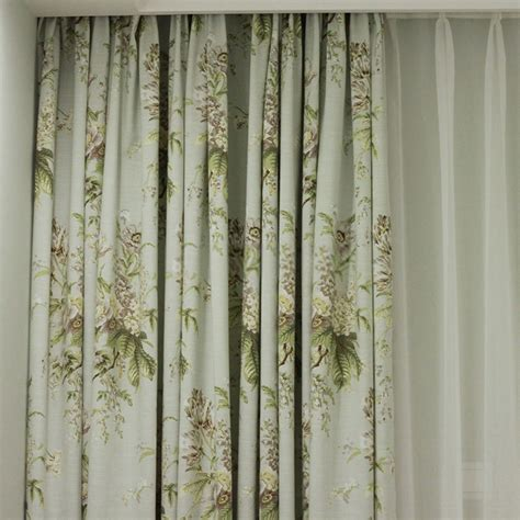 light green print curtains in decorative designer floral style